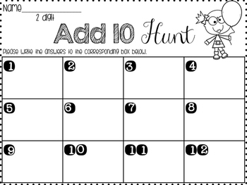 Math around the room - add and subtract 10 & 100 series