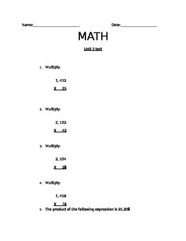 5th grade Math assessment NBT.2.5 / 2.6 & NF.2.3