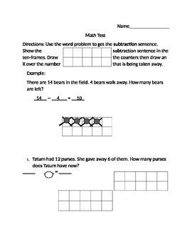 Math assessment using ten frames