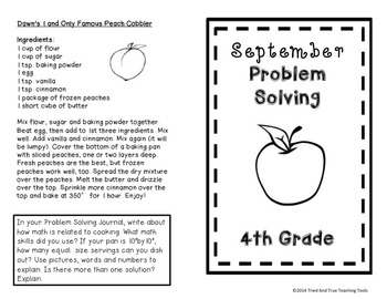 BACK TO SCHOOL Math at Home: Monthly Problem Solving for 4th Grade