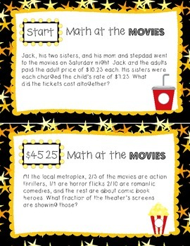 Word Problems for No Prep Test Prep: Math at the Movies