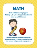 Math: Beginning addition for 1, 2, 3, 4, & 5 for Pre-k, k, 1st & 2nd  grade.