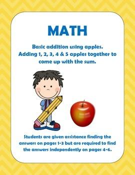 Math: Beginning addition for 1, 2, 3, 4, & 5 for Pre-k, k,