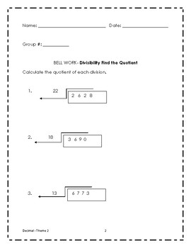 Math bell work grade 6 - Theme 2