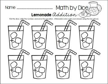 Math by Dice - Lemonade Addition