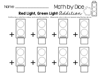 Math by Dice - Red Light, Green Light Addition