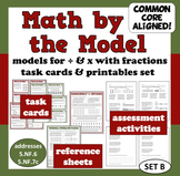 Math by the Model modeling x and ÷ with fractions task cards/printables (set b)