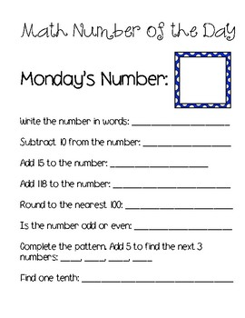 Math by the day Freebie