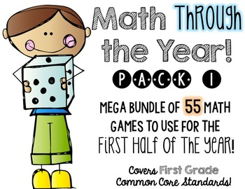 Math (centers) Through the Year!  Pack 1, first half of the school year