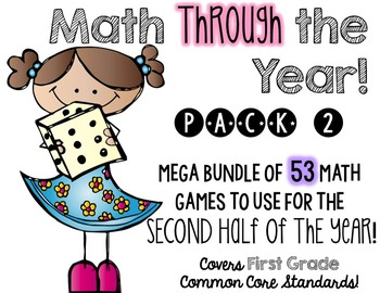 Math (centers) Through the Year!  Pack 2, second half of the school year