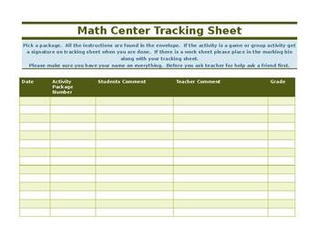 Math centers tracking sheet