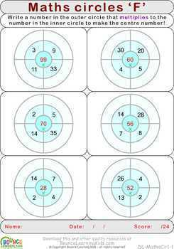 Math circles (6 distance learning worksheets for Numeracy)