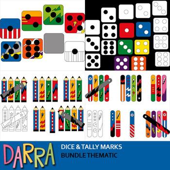 Math clip art bundle - Tally marks, dice clipart