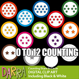 Math clip art counting pictures - Stars inside a circle (rainbow colors)