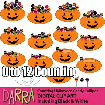 Math clip art for Halloween activities / Counting Halloween candy lollipop