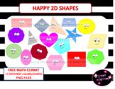 Math clipart 2D happy shapes