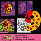 Math clipart Number 9 pop art superhero (color by code template clip art)