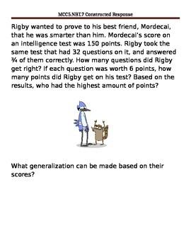 Math constructed response worksheet