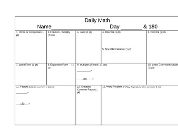 Math:  daily math review