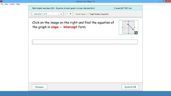 Math digital exercises 005 - Equation of each graph in slo