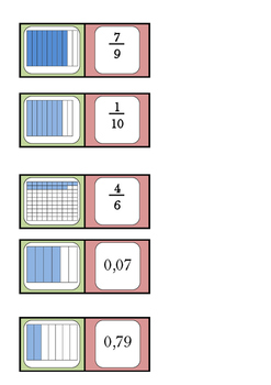 Math domino : fractions, decimal numbers