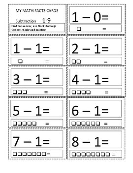 Math facts Subtraction flash cards