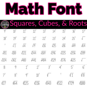Math font for teachers Squares Cubes and Roots font