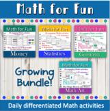 Math for Fun activity units Growing Bundle  printable dist