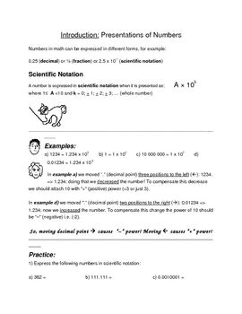 Math for Science Students: Scientific Notation and Significant Digits Worksheets