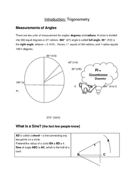 Math for Science Students: Trigonometry. Worksheets.