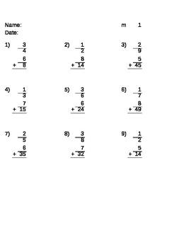 Math fraction skills - adding mixed fractions
