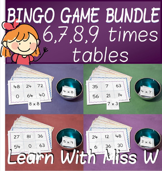 Math games: 6,7,8 and 9 times table bingo pack