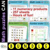 Math games & puzzles (CANADA) distance learning task cards