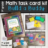 Math games 1st grade task card kit BUILD A BUDDY-monster theme