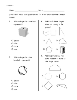 Math geometry (3D shapes) pre-post assessment pages-ITBS style
