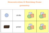 Math geometry Concentration and Matching game (Pexeso) or