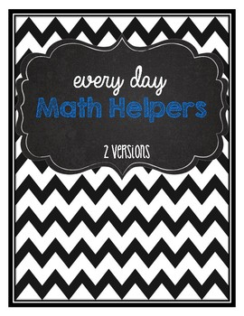 Math helpers for every day math activities- hundreds chart, money, number words