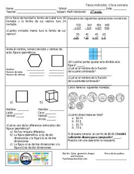 Math homework 2nd grade Spanish, 2nd semester.