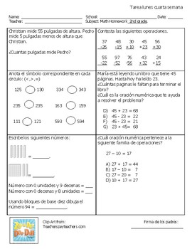 Math homework Spanish sample. 2nd grade