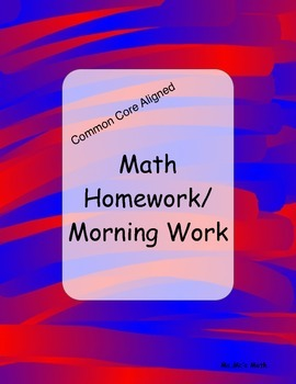 Math homework or morning work