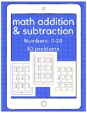 Math: iPad Addition and Subtraction (up to 20)-50 WORKSHEETS