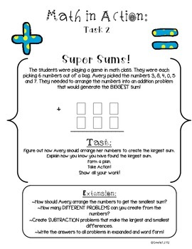 Math in Action: BACK TO SCHOOL Ready-to-Go Open-Ended Math Tasks Common Core