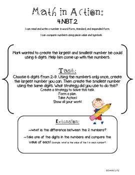 Math in Action: Common Core Math Tasks 4.NBT.1 - 4.NBT.6