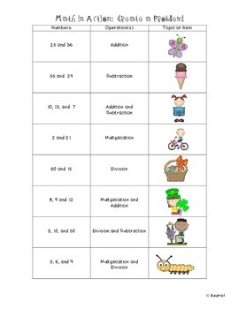 """Math in Action: SPRING """"Create a Problem"""" Ready-to-Go Word Problem Charts"""