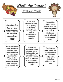 Math in Action: Thanksgiving What's for Dinner? Ready-to-Go Common Core Task