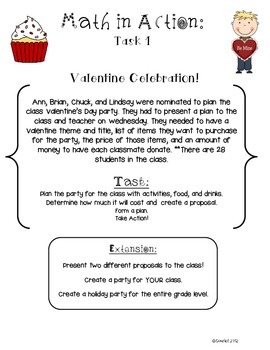 Valentine's Day Open-Ended Math Ready to Go Tasks No PREP Math in Action CCSS