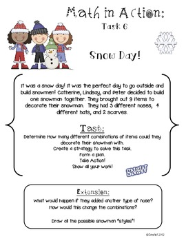 Math in Action: WINTER Ready-to-Go Open-Ended Math Tasks Common Core
