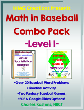 Math in Baseball-Level I Combo--Baseball Word Problems & Fantasy Baseball
