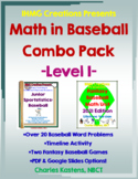 Math in Baseball-Level I Combo--Baseball Word Problems & Fantasy Baseball