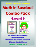 Math in Baseball-Level I: Word Problems & Fantasy Baseball Combo-2019 Edition